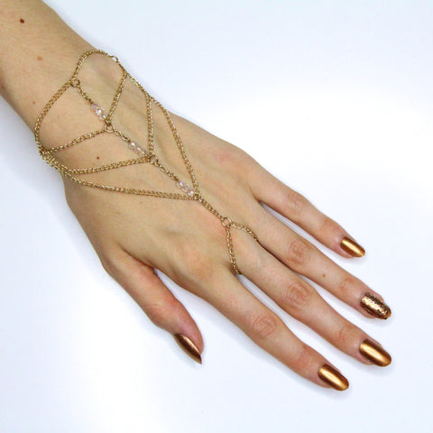 'Aria' gold hand chain with clear beads