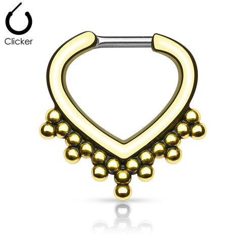 'Artemis' gold clicker septum piercing
