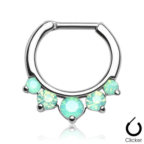 Luna silver clicker septum piercing with green stones