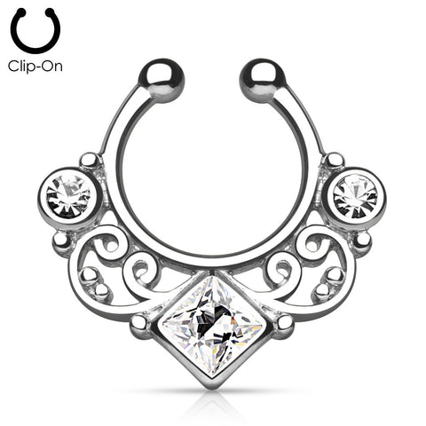 'Kali' silver clip-on septum with clear stones