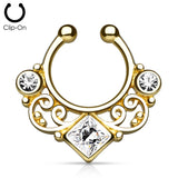 'Kali' gold clip-on septum with clear stones