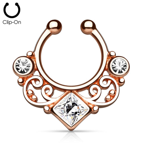 'Kali' rose gold clip-on septum with clear stones