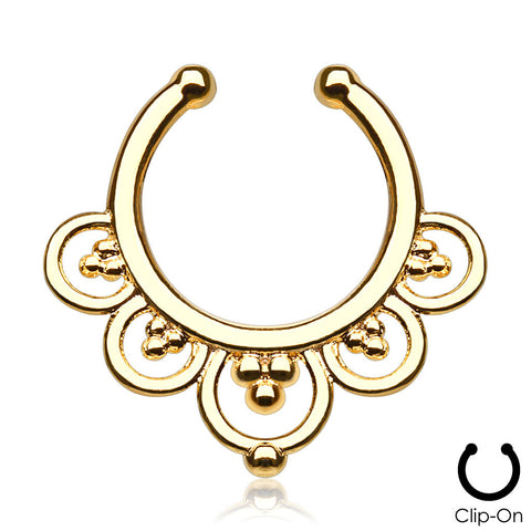 'Maia' gold clip-on septum