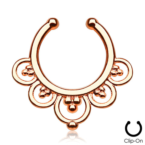'Maia' rose gold clip-on septum