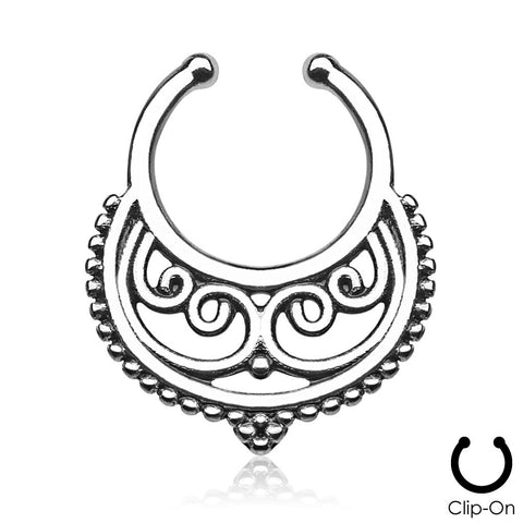 Persephone silver clip-on septum piercing