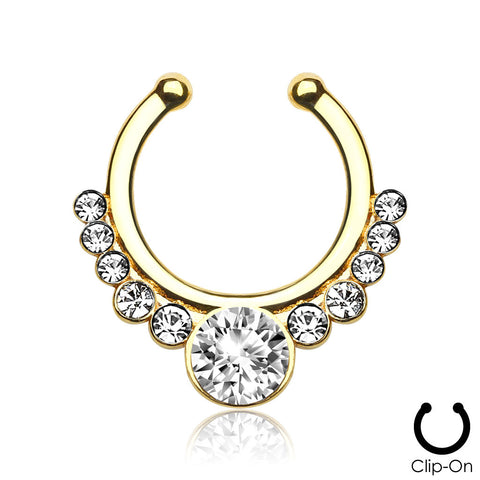 Rhea gold clip-on septum piercing with clear stones