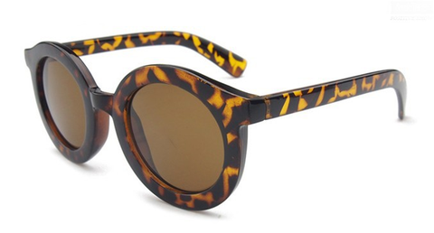 'Throwin' Shade' brown round sunglasses