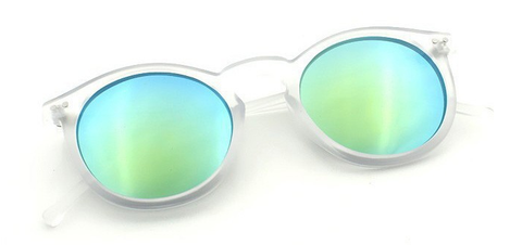'Shades of Cool' frosted white sunglasses with colored mirrored glasses