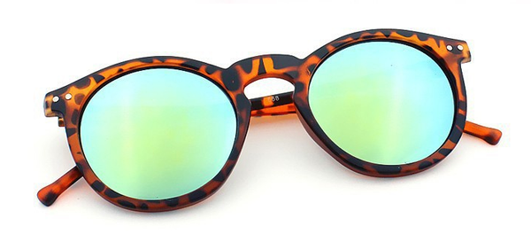 'Shades of Cool' leopard brown sunglasses with mirrored glasses