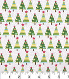 Green Christmas Trees Fabric Pattern