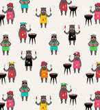 Grillin' Black Bears Fabric Pattern