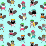 Pool Ready Beavers Fabric Pattern