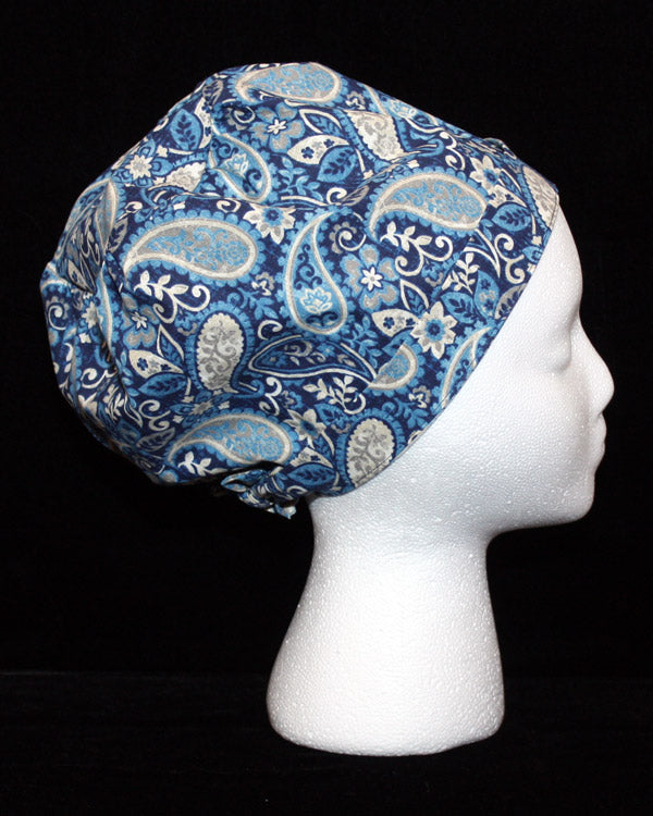 Navy and Grey Paisley Design Scrub Hat