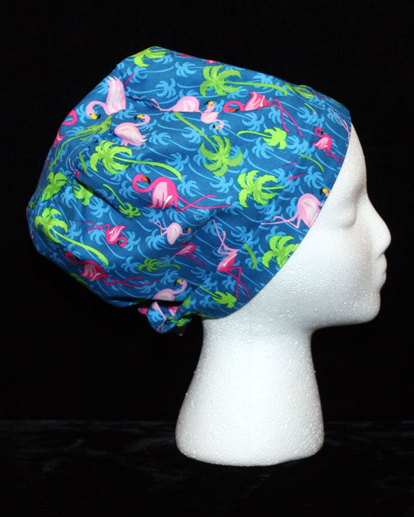 Flamingos & Palm Trees Scrub Hat