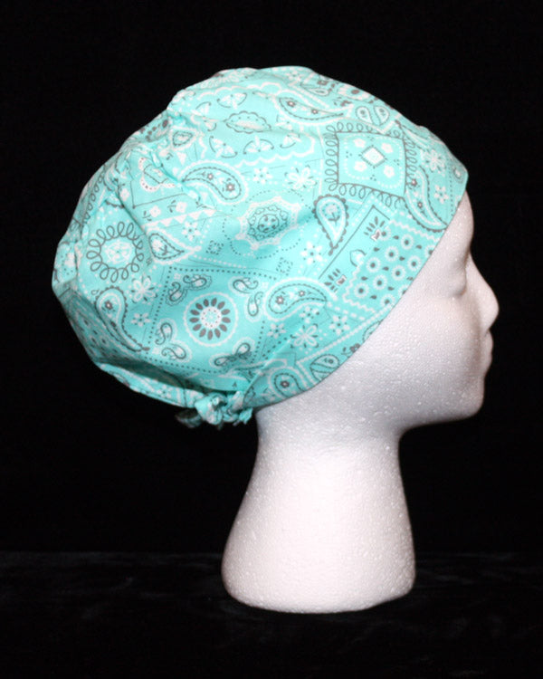 Teal and Grey Bandana Print Scrub Cap
