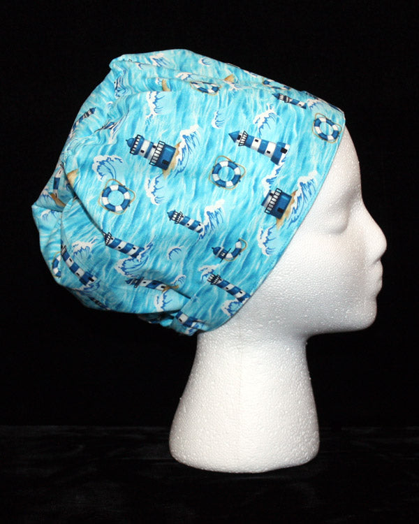 Lighthouses and Waves Scrub Hat