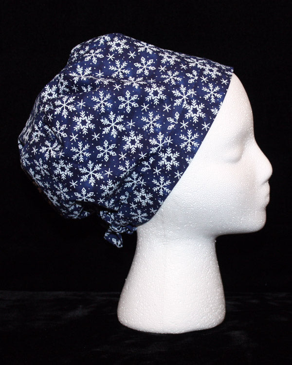 Snowflakes on Navy Scrub Hat