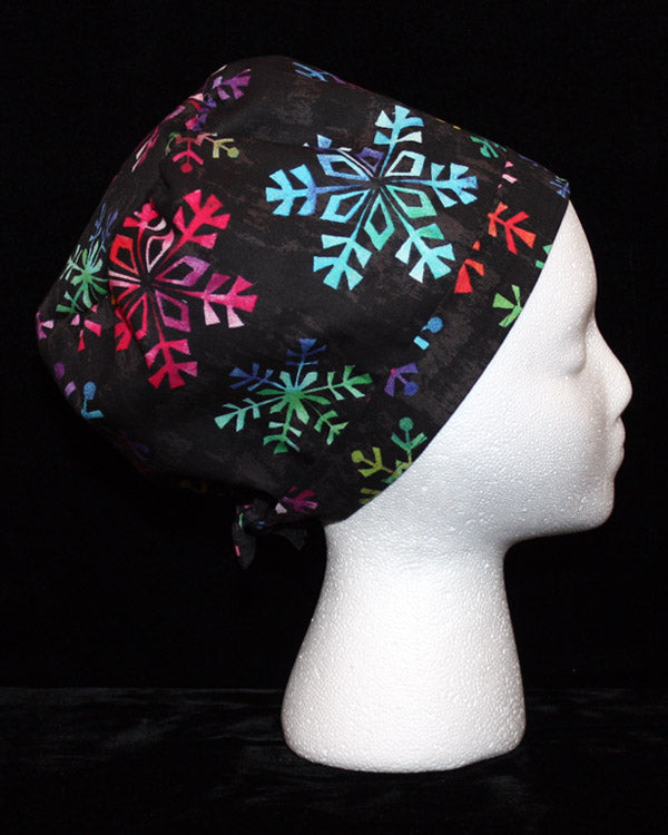 Bright Coloured Snowflakes Scrub Cap