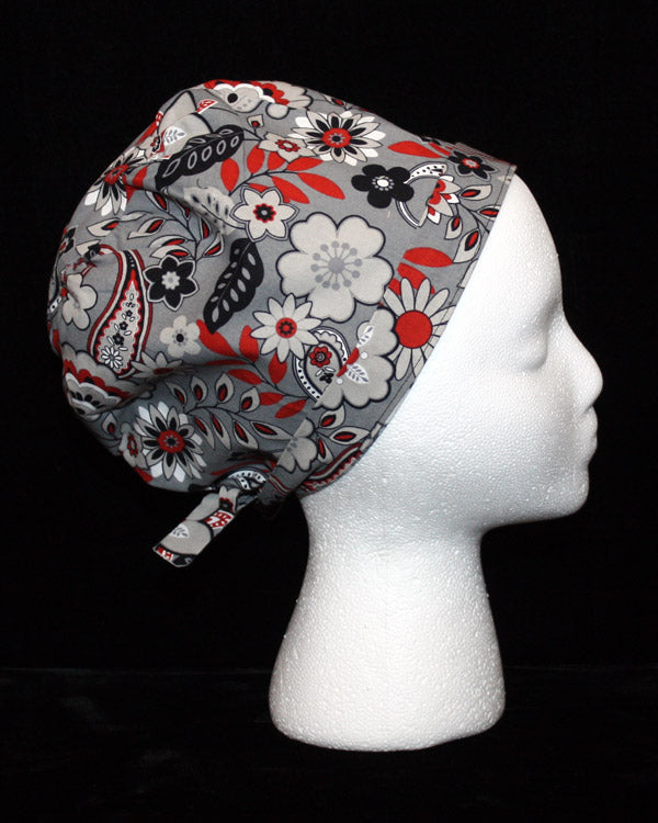 Grey and Red Paisley and Floral Design