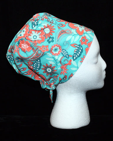 Teal and Coral Paisley Design