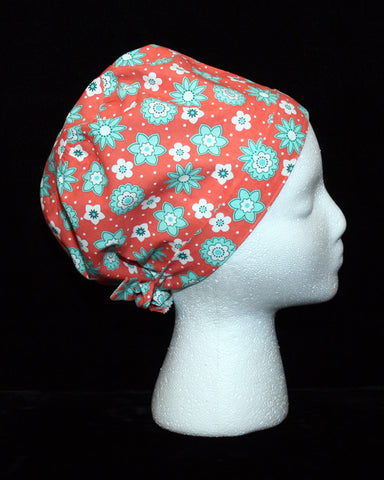 Teal Floral Shapes on Coral