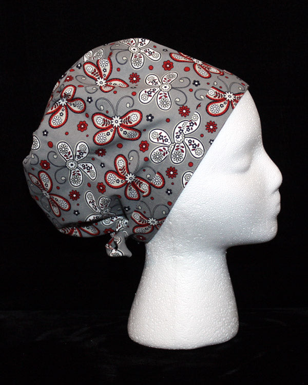 Grey and Red Butterfly Paisley