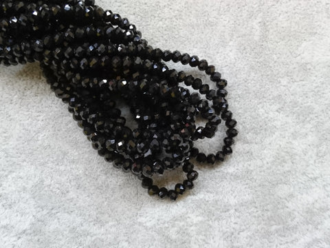3x4mm faceted rondelle glass beads, Solid Black (#02) - amakeit bead 天富