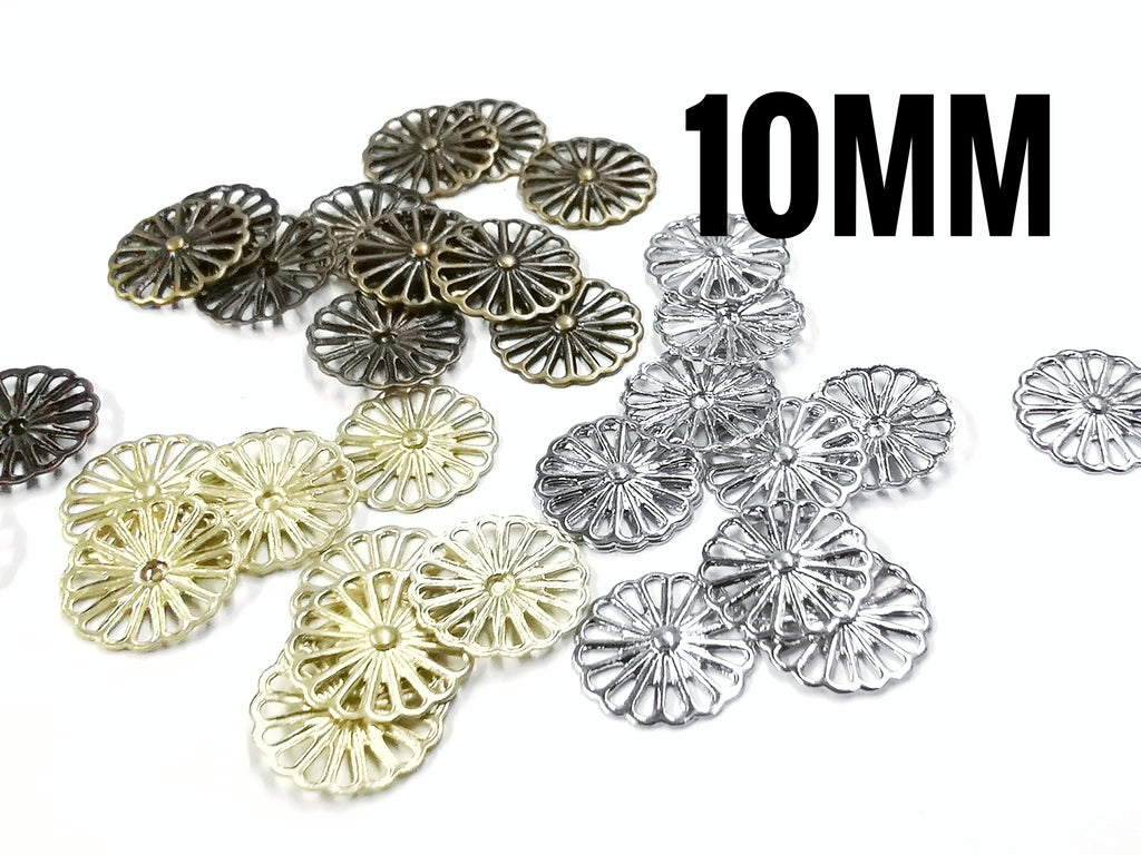 Brass sequins, 10mm, flower, 36 pcs | 圓銅片, 10mm, 花形, 36個