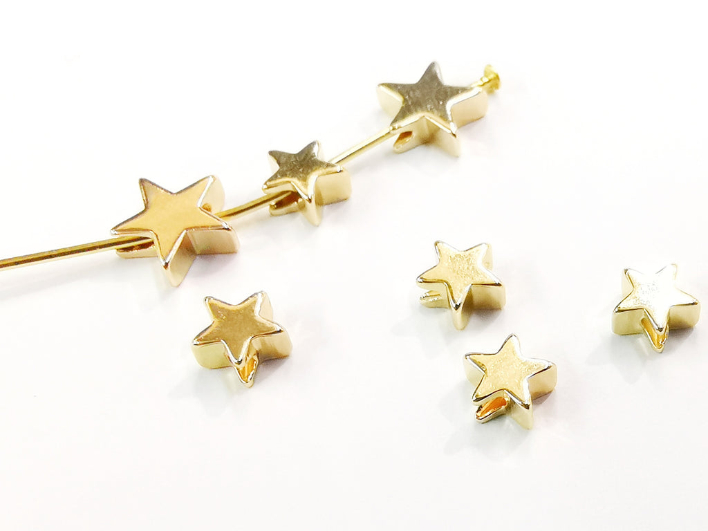 brass bead, Star, 6/8mm, 10 Pieces  | 星形銅珠, 6/8mm, 10個