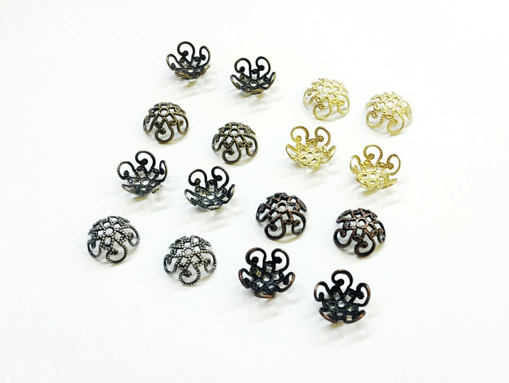 Bead Cap, 10mm Brass Cap, Fit For 10mm Bead, 24 Pieces Per Pack - amakeit bead 天富