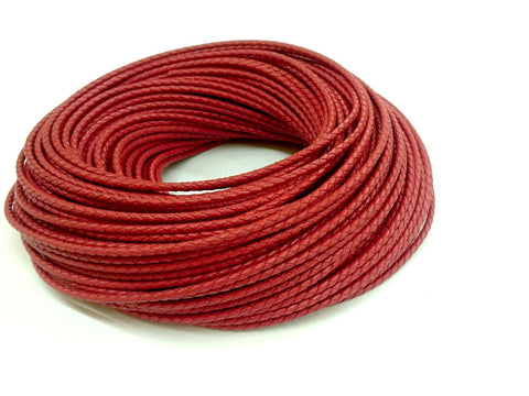 3mm Braided leather cord, Red, 1 Yard & 5 Yards - amakeit bead 天富