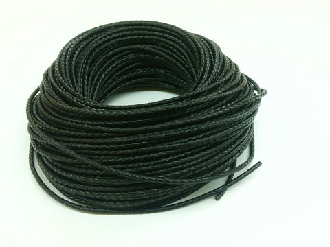 3mm Braided leather cord, Black, 1 Yard & 5 Yards - amakeit bead 天富