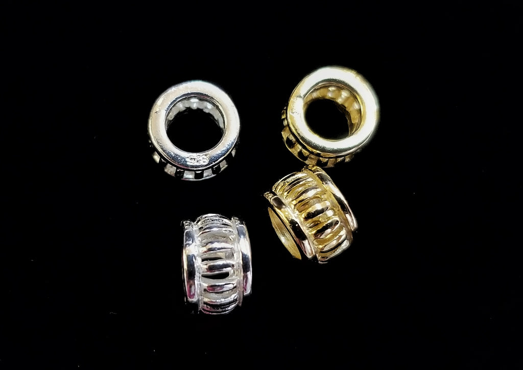 Spacer, 925 Silver, Hollow Rondelle | 925銀隔珠, 4x6.3mm
