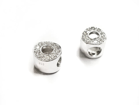 Bead, Sterling Silver, Cubic Zirconia, 9mm, Circle | 925銀閃石珠, 9mm圓圈