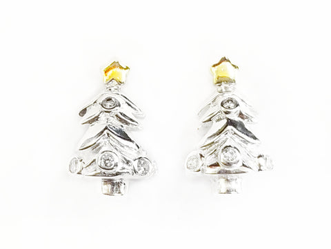 Bead, Sterling Silver, Cubic Zirconia, 8.3x13.5mm, Christmas Tree | 925銀閃石珠, 聖誕樹
