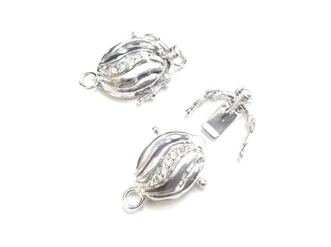 Box Clasp, Sterling Silver, 14x24mm, Cubic Zirconia | 閃石鏈扣, 925銀插扣, 14x24mm