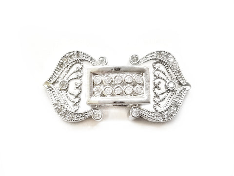 Snap Clasp, 14.5x30mm, Filigree, Cubic Zirconia | 閃石鏈扣, 14.5x30mm
