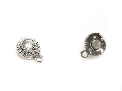 Magnetic Clasp, Alloy, 10.5x17mm, Rhinestone | 10.5mm水鑽磁石扣