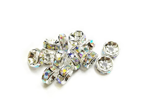 Spacer, Rondelle, 7mm Nickel, AB Clear Rhinestone, 12 Pieces  | 閃石隔珠, 7mm叻色, 透明AB水鑽, 12個