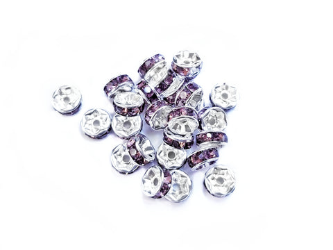 Spacer, Rondelle, 7mm Silver, Grape Purple Rhinestone, 12 Pieces  | 閃石隔珠, 7mm銀色, 葡萄紫水鑽, 12個