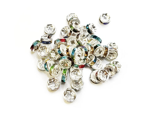 Spacer, Rondelle, 3x6mm Nickel, Assorted Rhinestone, 12 Pieces  | 閃石隔珠, 6mm叻色, 透明彩色水鑽, 12個