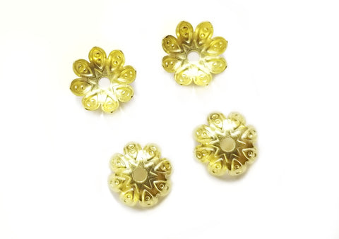 Bead Cap, Brass, 9.3mm, 24 Pieces | 銅珠蓋, 9.3mm, 24個