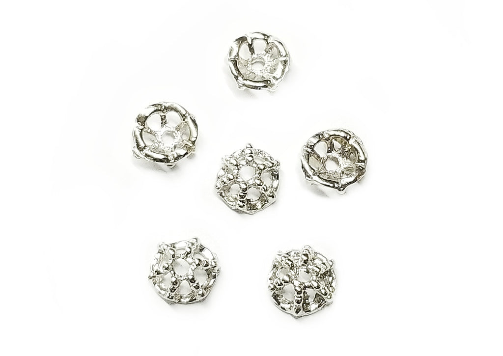 Bead Cap, Alloy, 8mm, Nickel, 20 Pieces | 合金珠蓋, 8mm, 叻色, 20個