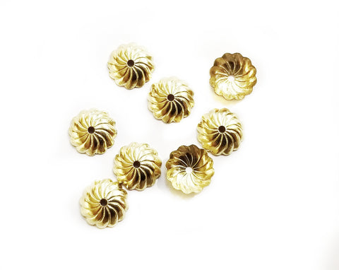 Bead Cap, Brass, 10mm, Fit For 12mm Bead, 24 Pieces | 銅珠蓋, 10mm, 12mm珠用, 24個