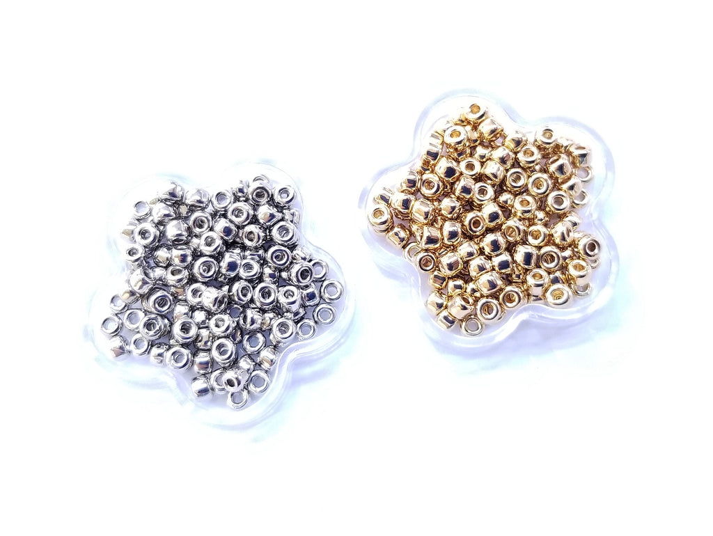 Japanese seed beads, MATSUNO, 8/0, silver or golden plated | 日本玻璃珠, 松野, 8/0, 金色/白金色
