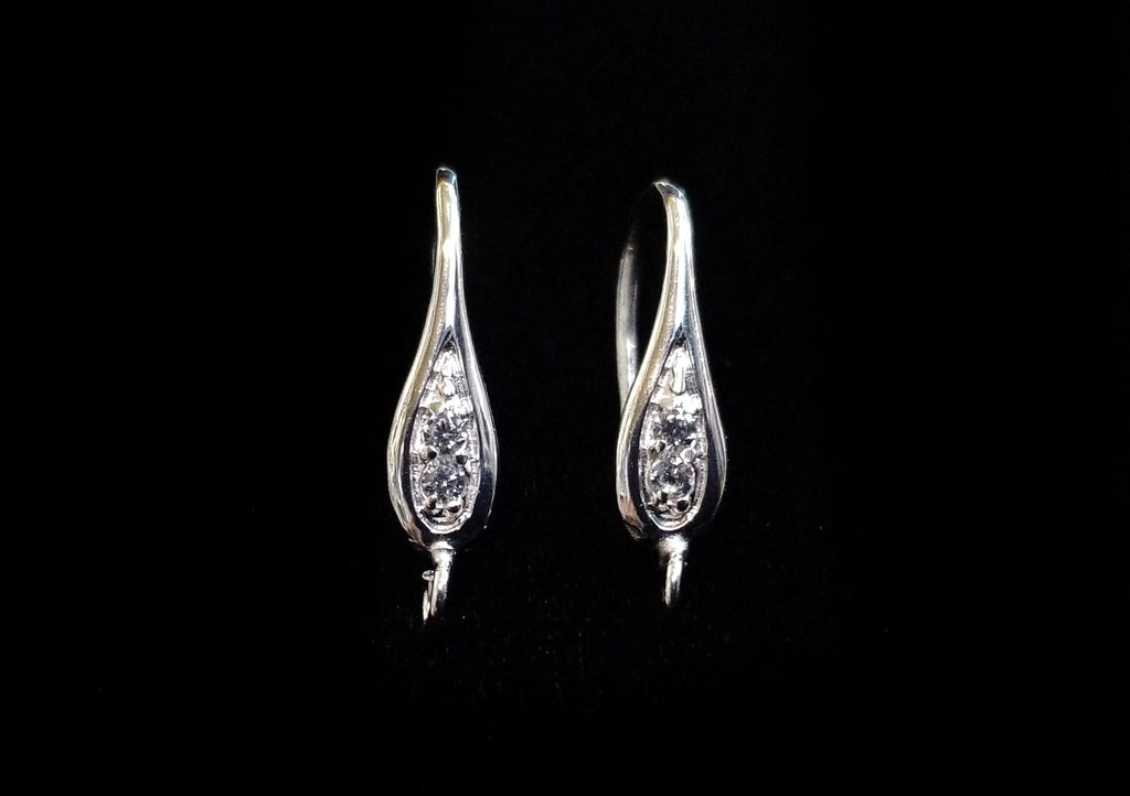 Earring Hook, Sterling Silver, Platinum color, clear CZ stones | 925銀閃石耳勾, 有圈