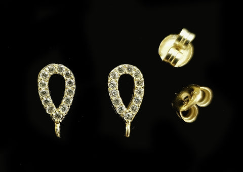 Earstud, Sterling Silver, Golden color, clear CZ stone | 925銀閃石耳針, 有圈