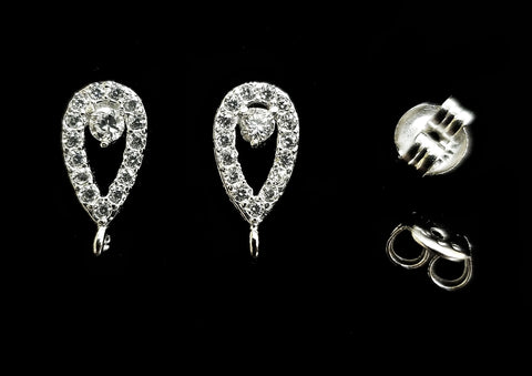Earstud, Sterling Silver, Platinum color, clear CZ stone | 925銀閃石耳針, 有圈