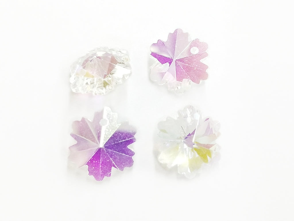 Bead, Glass, Snowflake, 4 Pieces | 雪花玻璃珠,4個