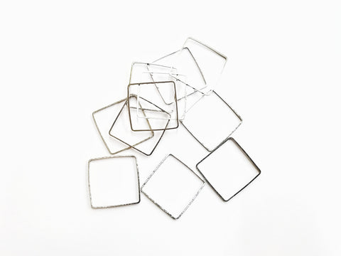 Ring, Brass, Square, 25x25mm, 10 Pieces | 25mm方形銅圈,10個